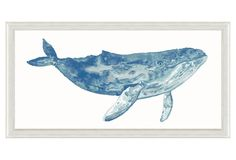 Watercolor Blue Whale Print Paintings Art One Kings Lane - Ideal For Adding A Coastal Note To Your Decor This Watercolor Whale Study Is Reproduced On Fine Art Paper Using Vibrant Fade Proof Inks That Are Guaranteed To Last For Generations Set Under Glass Whale Painting, Watercolor Whale, Abstract Watercolor Art, Blue Painting, Ink Painting, Watercolor Paintings, Original Paintings, Watercolors, Whale Art