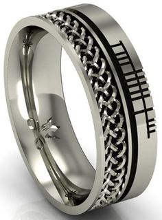 Sterling Silver Celtic Knot with Ogham Script Band at Claddaghrings.com