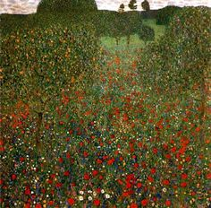 Klimt, Field with poppies, 1907