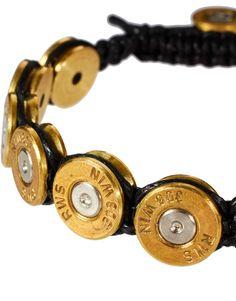 """""""Lovebullets Bullet Bracelet."""" Bullets! So romantic, right? This makes such an adorable gift. #lovebullets #lovebullshit"""