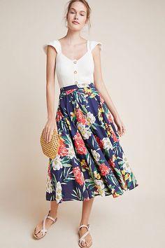 Beaded Floral Maxi Skirt | Anthropologie