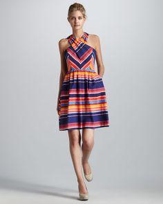 Shoshanna Shae Cross-Neck Striped Dress  $340.00