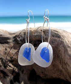 Hawaiian Rare Tiny Cobalt Blue Beach Glass over Clear Beach Glass on Silver Plated Circular Wire Small Hoop Earrings by LindseysBeachGlass, $42.00
