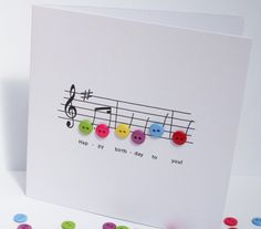 Happy Birthday Music Card - Creating the music notes with buttons!