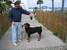 Mike with Rommel in Playas de Tijuana, Rommel is about a year old.