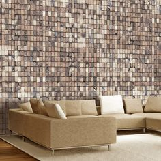 "water-resistant and scratch-proof fleece wallpaper ""Brick mosaic"". Wallpaper ""Brick mosaic"" with the inspiring motive will be an effective eye-catch for each interior. Wallpaper For Sale, 3d Wallpaper Mural, View Wallpaper, Photo Wallpaper, Mosaic Wallpaper, White Brick Wallpaper, Brick Effect Wallpaper, Decoration Design, Garden Styles"