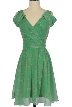 Pretty In Paisley Draped Shoulder Dress In Green  So what to swing in this : )
