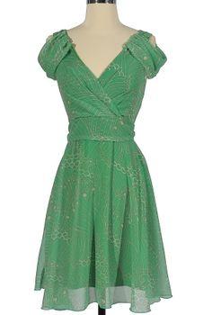 Pretty In Paisley Draped Shoulder Dress In Green