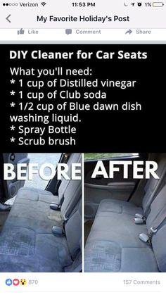 Diy Home Cleaning, Car Cleaning Hacks, Household Cleaning Tips, Cleaning Recipes, House Cleaning Tips, Cleaning Solutions, Deep Cleaning, Car Hacks, Diy Cleaners
