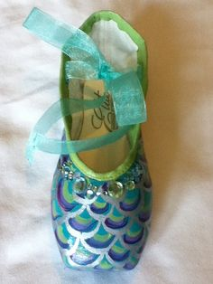 Mermaid's Tail ... Decorated Pointe Shoe by JazzedUpPointes