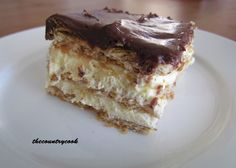Eclair Cake - Quick & Easy  1 (3.5 oz) package of instant vanilla pudding mix  ½ (8 oz.) container of Cool Whip  1 ½ cups of milk  1 package of graham cracker squares  1/2 tub of chocolate frosting