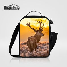 Dispalang Thermal Lunch Bag For Women Elk Deer Animal Printed Multifunctional Lunch Bags With Water Bottle Pocket Kids Lunch Box
