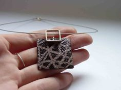 Enameled Drawnwork Pendant  Biscuit and brown enamels, Sterling silver and copper, Square necklace