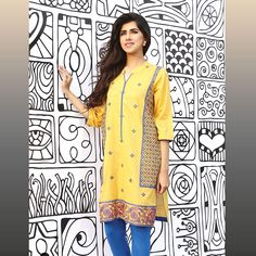 Yellow Embroidered Ready To Wear Eid Shirt By Warda 2016