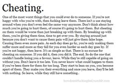 """CHEATING is One Of The Worst Things You Can Do To SomeOne ~You Love or that Loves YOU~  """"This Quote Speaks Volumes … Take Heed"""