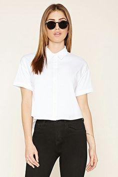 Boxy white button down short sleeve shirt #wishlist