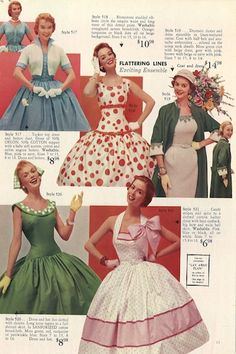 1950s dresses from the Lana Lobell catalog. Look at that pink bow!