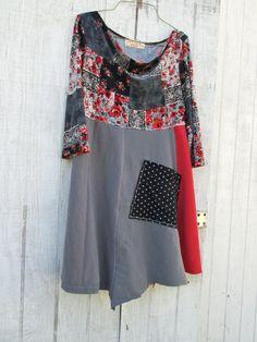 xsmall  medium  / Upcycled clothing / Funky Tshirt by CreoleSha, $77.99