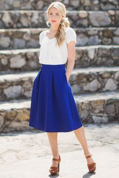 "Best Engagement Outfit Ideas For Women in 2017 - ""When you love someone, you don't allow yourself to see perfection in anyone else"". That's not one of relationships' clichés, because a good ... - a-line-modest-skirt-in-royal-blue-7 ."