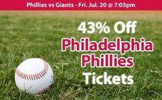 43% off Philadelphia Phillies Tickets vs San Francisco Giants Fri. Jul. 20 @ 7:05pm