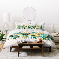 Spring Floral On A Geometric Background Ii Duvet Cover Marta Barragan Camarasa