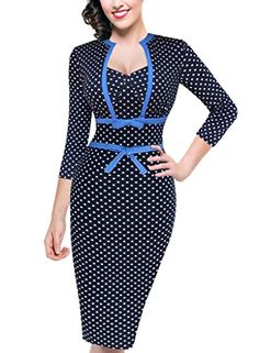 """VfEmage Womens Vintage Polka Dot Bowknot Work Casual Party Tunic Pencil Dress 1901 Blue 14. Our size is one size smaller than that of the US local brands like """"Nordstrom"""". To prevent the size issue, please refer to our detail size information (bust/waist/hip size) below the product description before order. Thanks!. Material: 93%Polyester+7%Spandex. Garment Care:Machine Washable. """"VfEmage"""" Trademark is registered on Amazon.The """"Vfemage"""" brand belongs to seller """"valuefashionshop"""". Some..."""