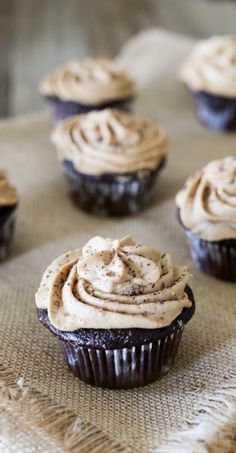 Chocolate Cupcakes with Kahlua Cream Frosting