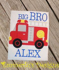 Big/Middle/Little Bro Fire Engine Shirt