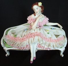 German Volkstedt Dresden Lace Victorian Lady on Settee Figurine Figure