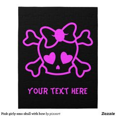 Pink girly emo skull with bow jigsaw puzzle