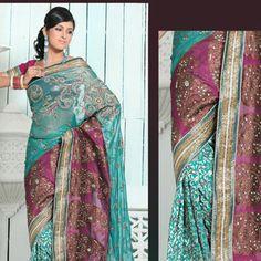 Magenta and Turquoise Green Pure Banarasi Silk Saree with Blouse
