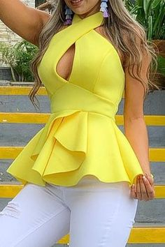 Fashion - Polyester Plus Size Falbala Standard Women's Tank Top Casual Skirt Outfits, Chic Outfits, Summer Outfits, Casual Pants, Ladies Dress Design, Latest Fashion For Women, Blouse Designs, African Fashion, Fashion Dresses