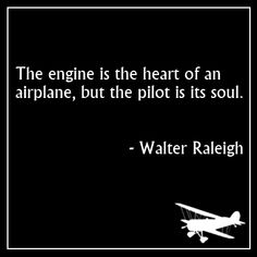 The engine is the heart of an airplane, but the pilot is its soul. - Walter Raleigh