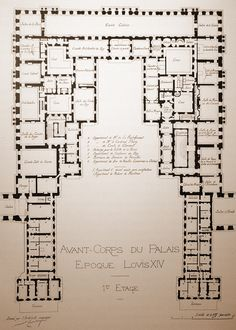A Plan Of The Centre Of The Chateau De Versailles. First Floor.