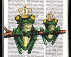 Print / Poster  Frog Prince & King  ORIGINAL by popcapopca on Etsy, $10.00