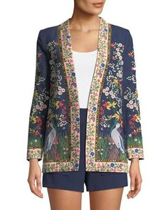 TWUH2 Alice + Olivia Jenice Floral-Embroidered Long Linen Blazer