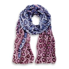 100% Charmesue Silk Scarf wild pink & blue made in Italy by Fulards.com
