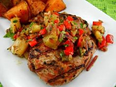» Grilled Spicy Pork Chops with Pineapple Relish & Sweet Potatoes