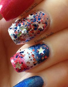 of july patriotic pictures 4th Of July Nails, Happy Fourth Of July, Holiday Nails, Christmas Nails, Patriotic Nails, Patriotic Pictures, Spring Nails, Nail Art Designs, My Nails