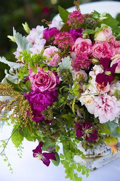 Love the colour palette -romantic garden flowers
