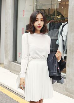 I usually don't go all in on white... But this girl nails it! Korean Style. White with Red Lipstick.