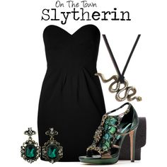 A fashion look from June 2014 featuring Moschino dresses and Maison Martin Margiela clutches. Browse and shop related looks. Mode Harry Potter, Harry Potter Cosplay, Harry Potter Style, Harry Potter Outfits, Edgy Outfits, Cosplay Outfits, Fashion Outfits, Slytherin Clothes, Slytherin House