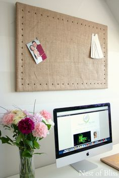 Looking for an afternoon DIY Project? How about making a Bulletin Board! For DIY and Inspiration.try our new collection of Bulletin Board DIY Projects! Cubbies, Alpillera Ideas, Upcycled Crafts, Diy Crafts, Recycled Art, Burlap Bulletin Boards, Burlap Cork Boards, Burlap Fabric, Burlap Wall