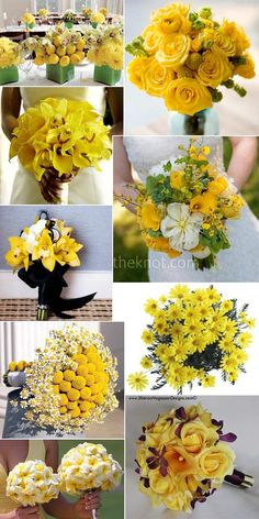 Yellow wedding flowers and bouquets