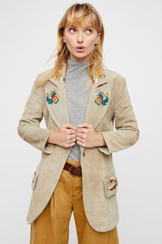 Alyssa Miller x Understated Leather Embroidered Suede Blazer available at Free People