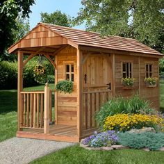 Store your gardening tools and supplies inside this stylish cedar shed. You can easily build it with simple tools for a weekend DIY project, or have a professional do it for you. Cedar is naturally insect and rot resistant and will last for years outdoors.