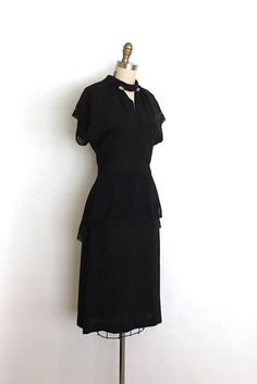 vintage 1940s dress 40s lace peplum dress