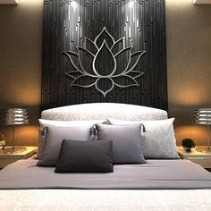 """XL Lotus Flower Metal Wall Art (measures 48 x 41) The perfect statement piece for your home or office.... Among its many meanings and significance, the lotus is a symbol of """"spontaneous"""" generation, and so it also represents divine birth, spiritual development and creation itself. Marked by crisp modern lines that only a laser can create, this sacred design is precision cut from sturdy yet light weight aluminum. Although more costly than steel, aluminum is lighter and it will never rust…"""