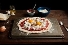 Desserts for Breakfast: Spicy tomato and egg pizza, with lemony broccoli rabe