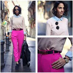 Zara Blue Shirt, Shana Soft Pink Sweater, Asos Pink Peg Trousers, Superga Black Flatforms, Forever 21 Black Studded Jacket [Lookbook]